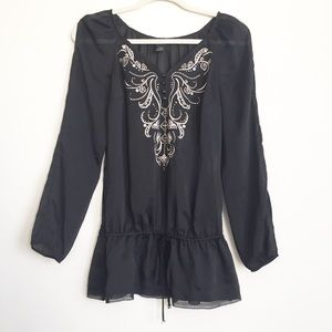 WHBM | Black Slit Sleeve Embroidered Blouse